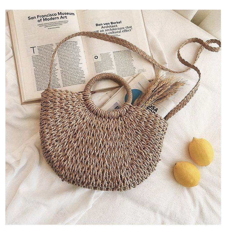New fashion woven bag vacation travel bag ladies beach bag hand ladle shoulder messenger bag NHGA200625