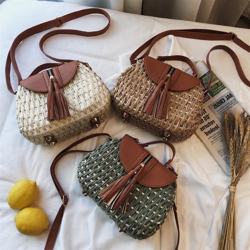 Straw bag new seaside vacation woven bag cross-body shoulder small portable fresh art fan beach ladies bag NHGA200627