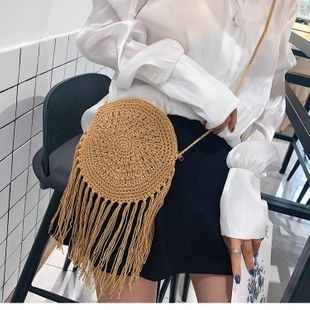 Fashion cotton woven women bag new straw bag beach fringe mini bag NHGA200628's discount tags