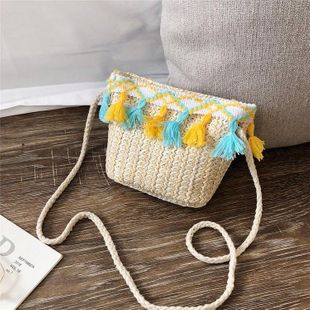 New Korean women's fashion woven shoulder messenger pouch trend Su summer children's beach bag NHGA200629's discount tags