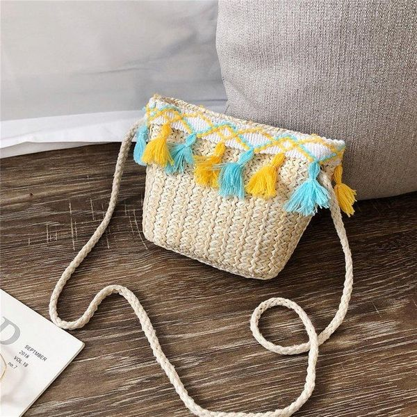 New Korean women's fashion woven shoulder messenger pouch trend Su summer children's beach bag NHGA200629
