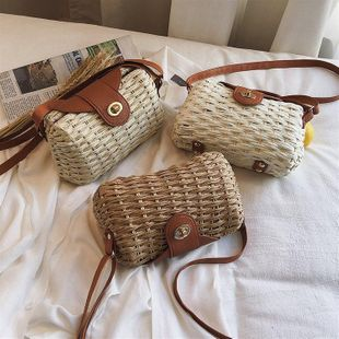 Summer woven straw bag women's new style foreign bag retro shoulder messenger bag NHGA200632's discount tags