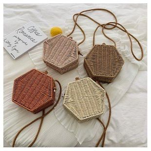 Retro straw bag summer new Korean  hand-woven beach bag fashion lightweight shoulder Messenger bag NHGA200634's discount tags