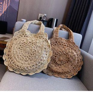 Summer new portable straw bag literary fan hand-woven handbags beach large-capacity shoulder bag NHGA200638's discount tags