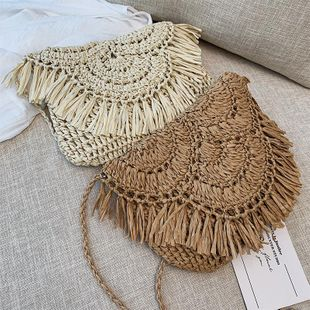 Summer new tassel straw bag paper rope hollowed out beach bag women bag wholesale NHGA200647's discount tags