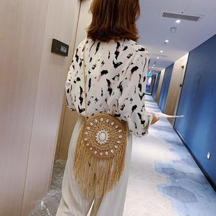 Cotton rope woven tassel small bag fashion literature and art shoulder Messenger bag summer new beach bag NHGA200651's discount tags