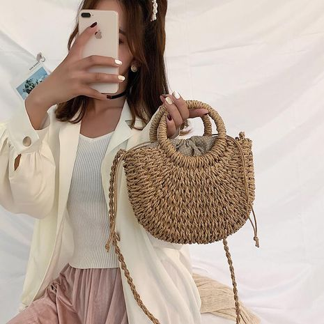 Messenger bag woven handbag summer new wild one-shoulder beach bag handmade straw bag NHGA200655's discount tags
