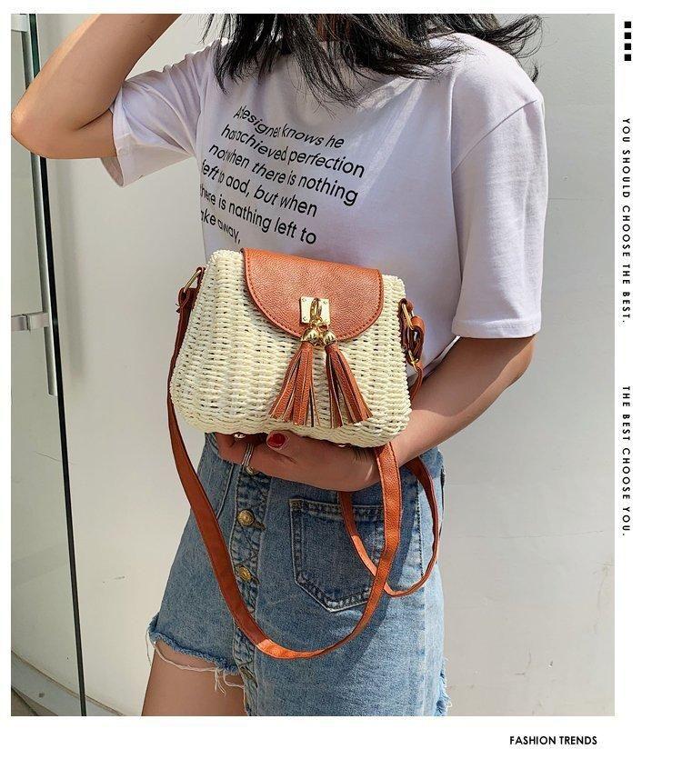 Woven bag new leisure seaside beach female bag fringed shoulder messenger bag NHGA200668