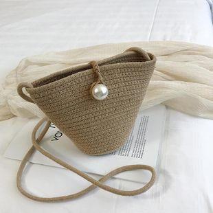 Summer new straw bag Korean fashion woven shoulder Messenger bag vacation beach handbag NHGA200669's discount tags