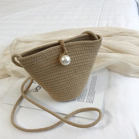 Summer new straw bag Korean fashion woven shoulder Messenger bag vacation beach handbag NHGA200669's discount tags