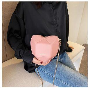 Foreign style patent leather handbag new Korean fashion chain crossbody bag cute peach heart shoulder bag NHGA200708's discount tags