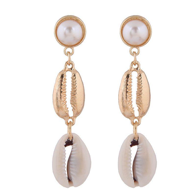 Fashion jewelry fashion metal simple wild seashell earrings wholesale NHSC200874