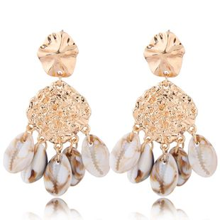 Fashion jewelry fashion metal simple seashell exaggerated earrings wholesale NHSC200872's discount tags