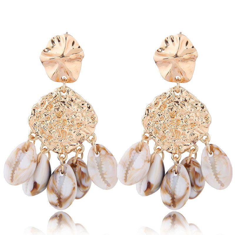 Fashion jewelry fashion metal simple seashell exaggerated earrings wholesale NHSC200872