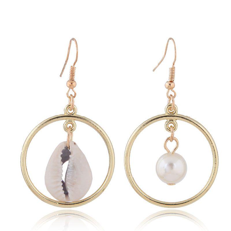 Fashion jewelry fashion metal simple seashell temperament asymmetric earrings wholesale NHSC200871
