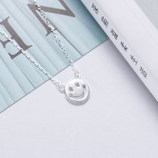 925 Silver Literary Smiley Necklace Female Korean Simple Brushed Sweet Smile Clavicle Chain Pendant Wholesale Jewelry NHKL200723's discount tags