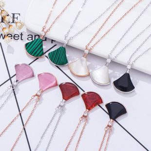 925 Sterling Silver Fan Necklace White Fritillary Red Black Onyx Scalloped Skirt Clavicle Pendant NHKL200727's discount tags