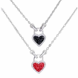 925 sterling silver double wear diamond love lock necklace love memory necklace women NHKL200728's discount tags