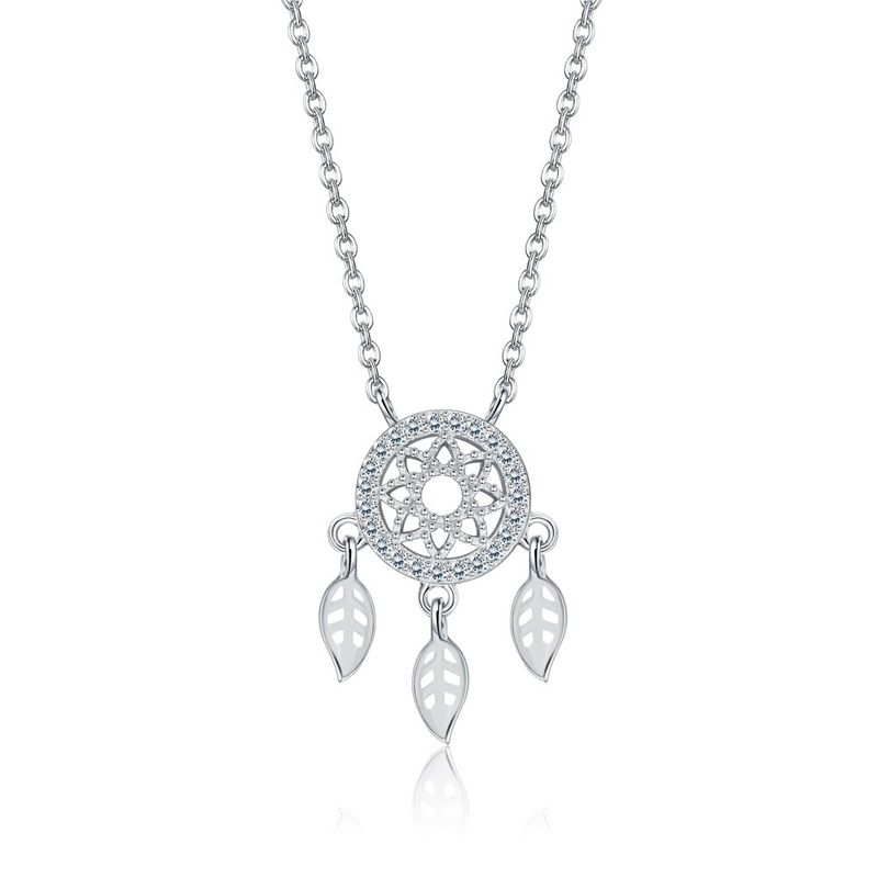 Fashion Dreamcatcher Small Pendant Necklace in Sterling Silver NHKL200777