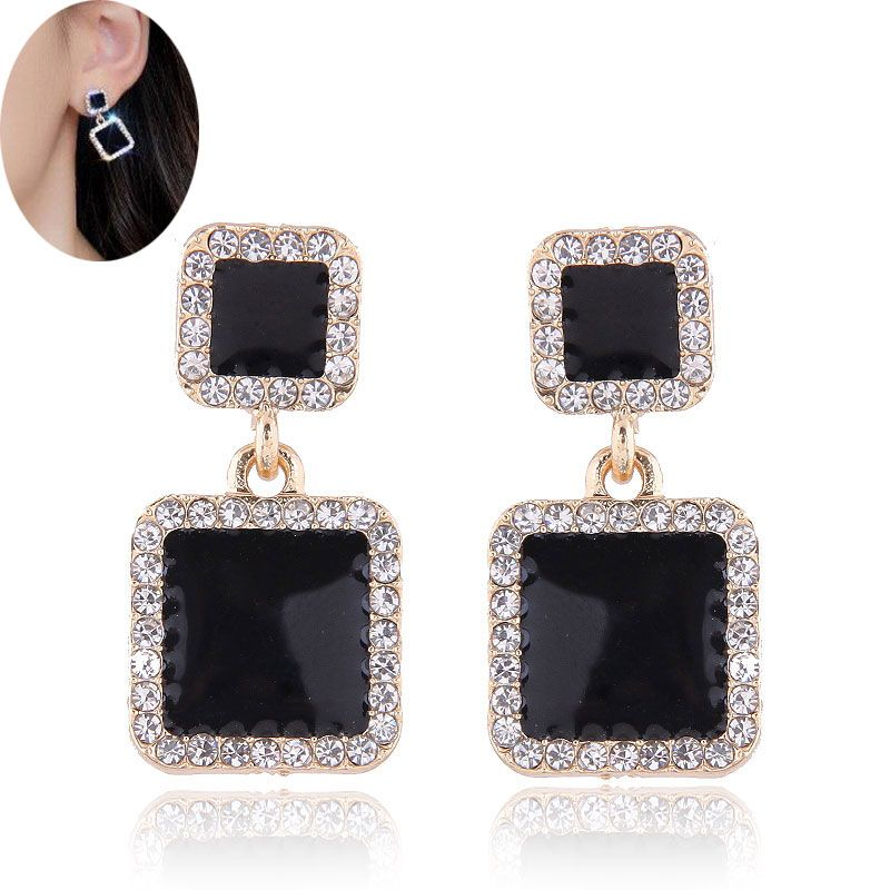 Korean fashion metal concise sweet and concise size square diamond earrings NHSC200870