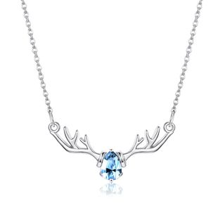 Blue Diamond Elk Necklace in Sterling Silver NHKL200787's discount tags