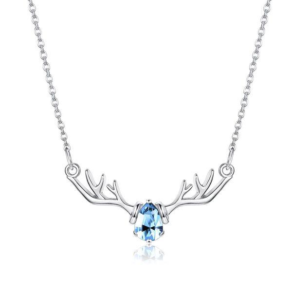 Blue Diamond Elk Necklace in Sterling Silver NHKL200787