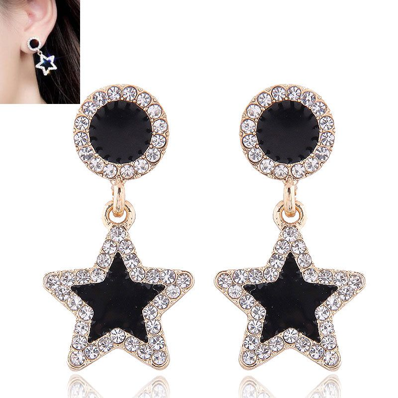 Korean fashion metal concise sweet and concise pentagram diamond stud earrings NHSC200869