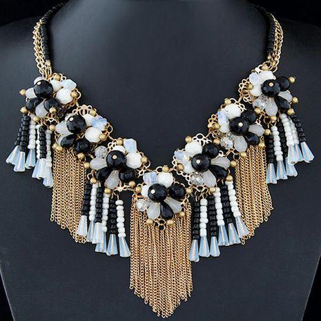 Bijoux de mode en gros métal cristal sauvage fleur collier court frangé NHSC200867's discount tags