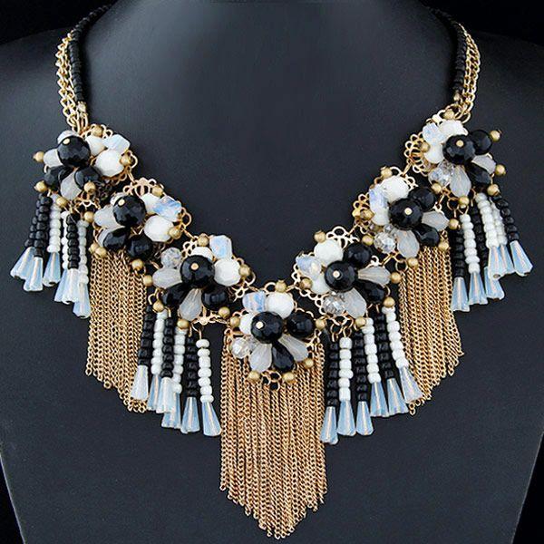 Fashion jewelry wholesale metal wild crystal flower fringed short necklace NHSC200867