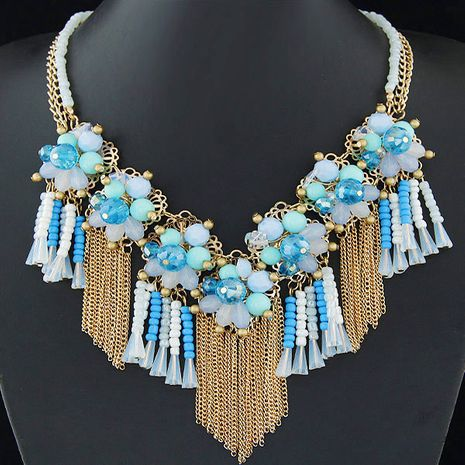 Fashion jewelry wholesale metal wild crystal flower fringed short necklace NHSC200866's discount tags