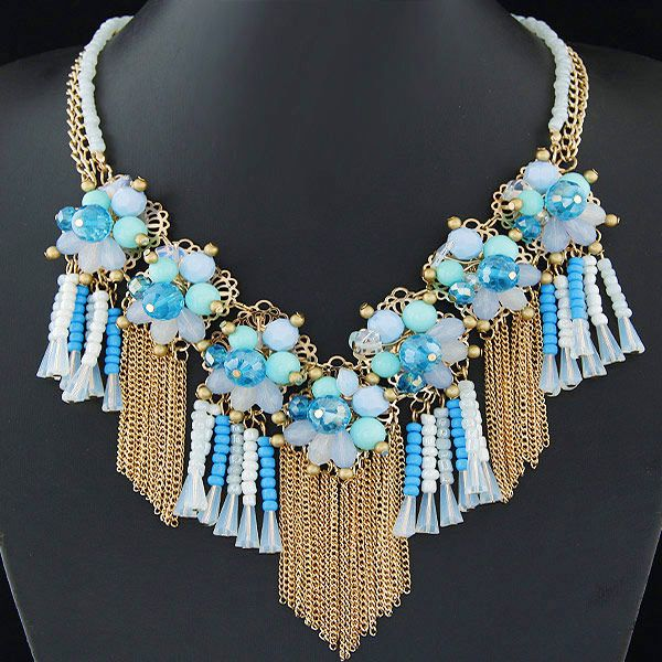 Fashion jewelry wholesale metal wild crystal flower fringed short necklace NHSC200866