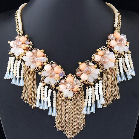 Fashion jewelry wholesale metal wild crystal flower fringed short necklace NHSC200865's discount tags