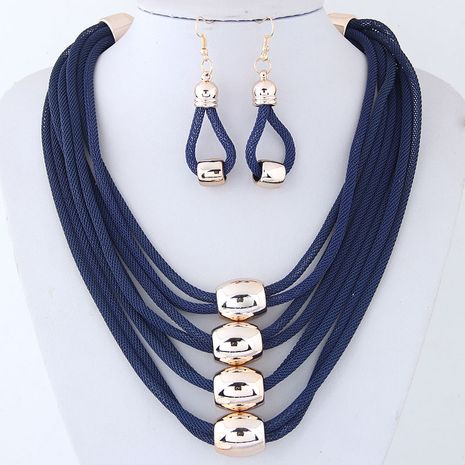 Fashion metal accessories exaggerated necklace temperament necklace and earring set NHSC200864's discount tags