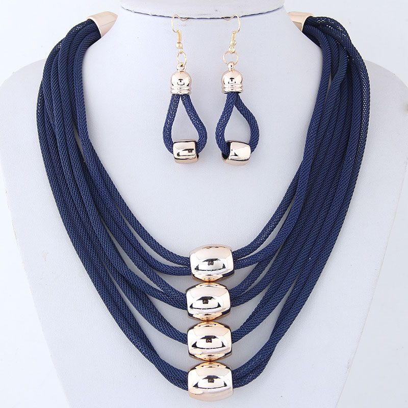 Fashion metal accessories exaggerated necklace temperament necklace and earring set NHSC200864