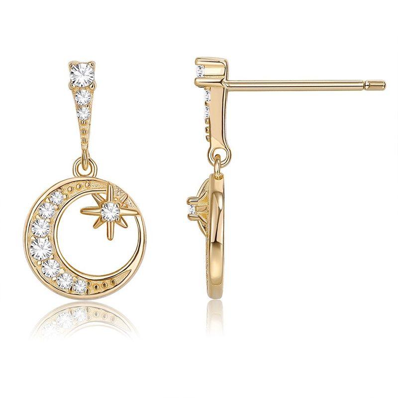 925 Sterling Silver Seiko Fashion Romantic Star Moon Earrings NHKL200839
