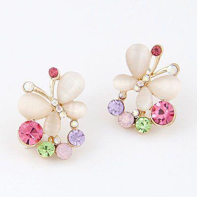 Fashion jewelry Korean fashion sweet opal butterfly stud earrings NHSC200861