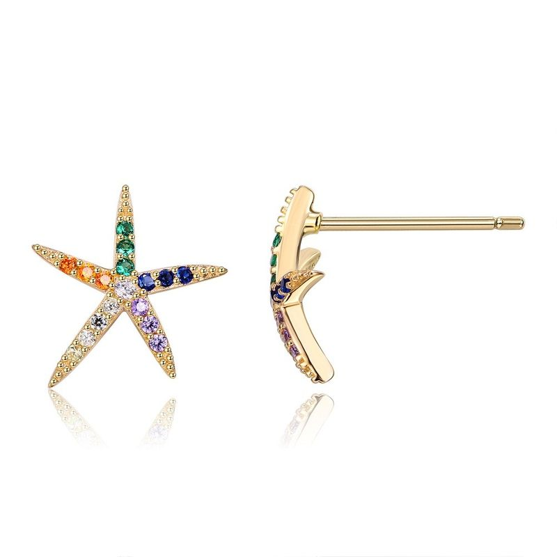 925 Sterling Silver Seiko Large Diamond Starfish Stud Earrings-C NHKL200825