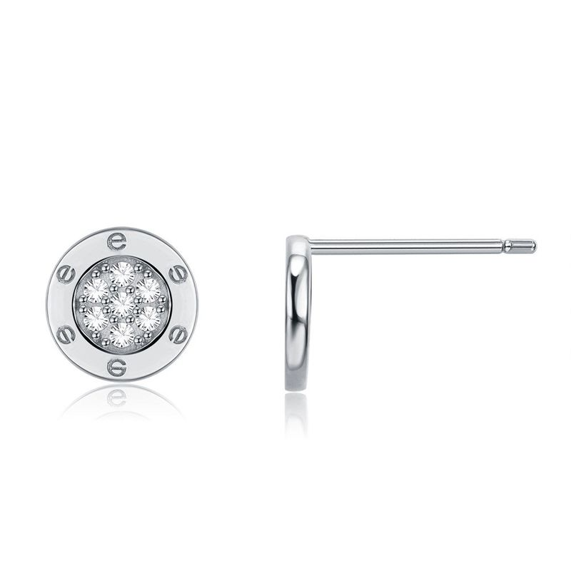 925 Sterling Silver Seiko LOVE Full Diamond Round Ear Studs-B NHKL200846
