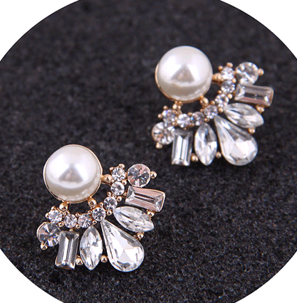 Fashion jewelry Korean fashion sweet OL wild bright gem earrings NHSC200917