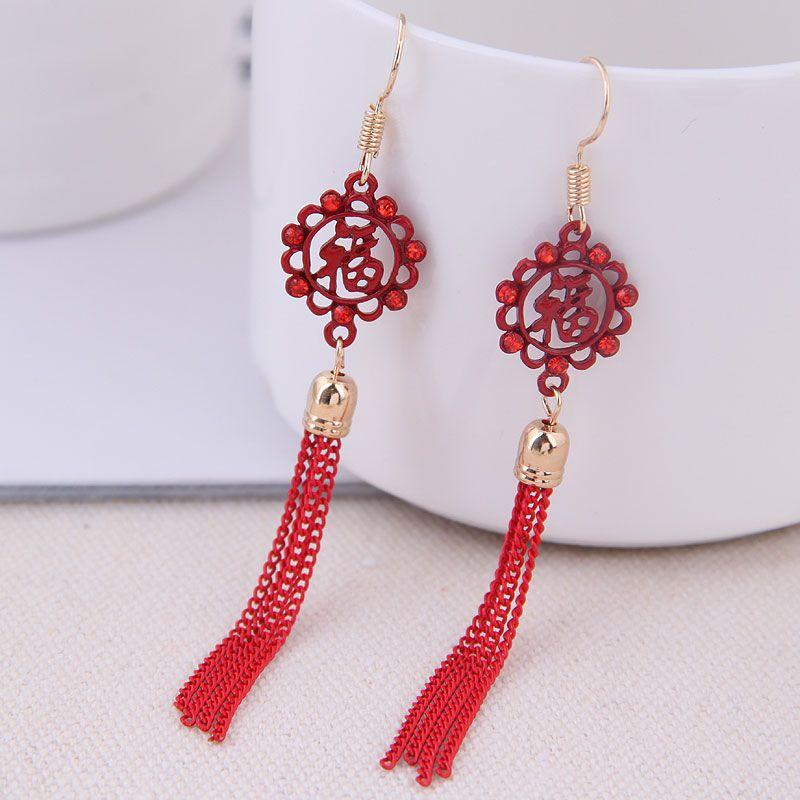 Fashion jewelry Korean fashion sweet OL blessing tassel temperament earrings NHSC200916