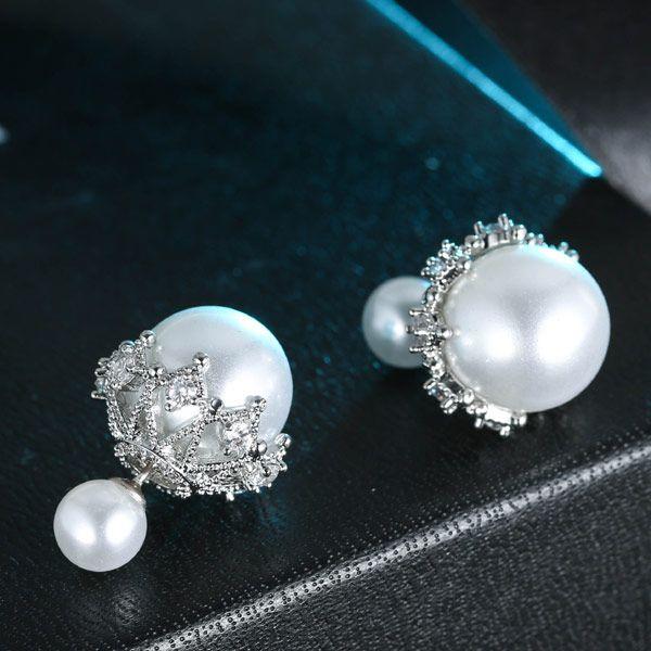 Fashion copper zircon elegant pearl earrings wholesale NHSC201416