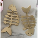 Fish bone hipster earrings simple titanium steel fashion long personality wild NHJJ200921