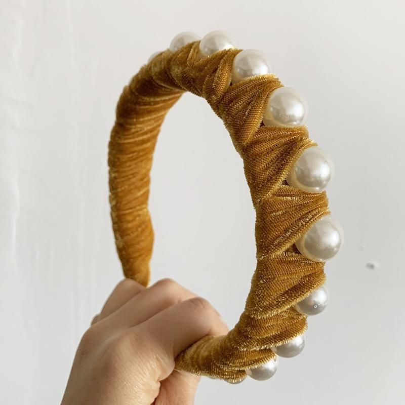 New bright silk pearl headband braid decoration knotted head buckle head ornament hair clip NHJJ200930