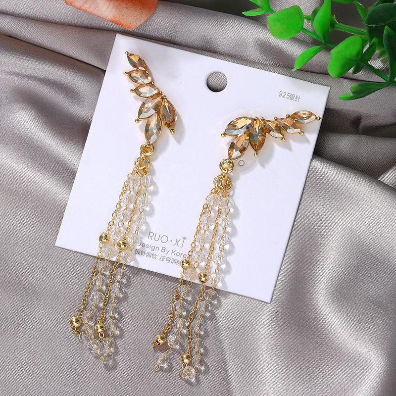 Korean fashion diamond 925 silver needle long earrings new tassel bead earrings NHJQ200937