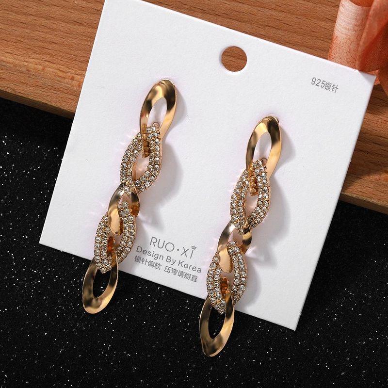 Fashionable wild chain earrings Korea exquisite diamond earrings NHJQ200938