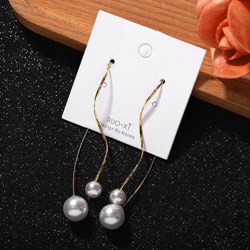 Fashion women's earring Korean simple pearl alloy chain ear hook new earrings NHJQ200942