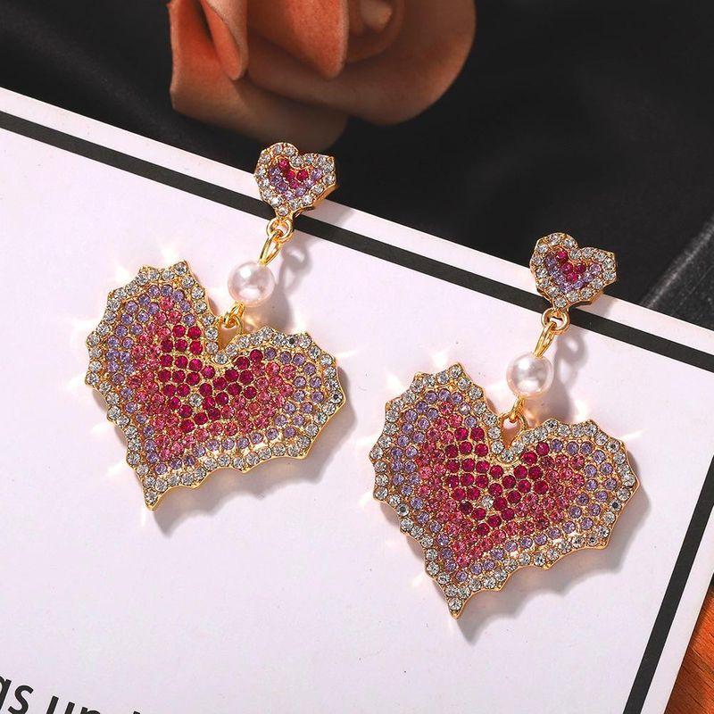 New Fashion Bride Exquisite Rhinestone Earrings 925 Silver Needle Korean Heart Earrings NHJQ200944