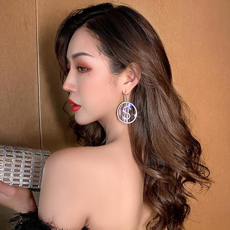 Korean dollar round rhinestone exaggerated ear hook female new fashion silver needle earrings female NHJQ200947