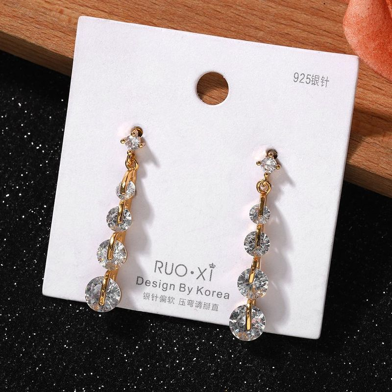 Japan and South Korea Fashion Drop Shaped Silver Pin Earrings New Shiny Exquisite Rhinestone Earrings Wholesale NHJQ200948