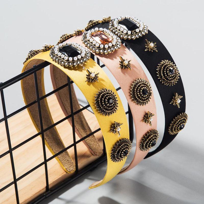 Baroque style hair hoop diamond pearl hair accessories wide retro vintage catwalk headband NHLN200949